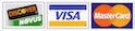 strip of credit cards with visa mastercard and discover