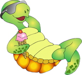 cartoon green turtle laying on back smiling with sunglasses